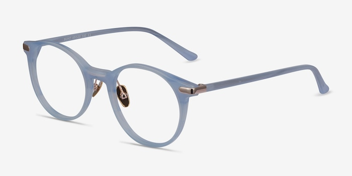 Buho Light blue Acetate Eyeglass Frames from EyeBuyDirect, Angle View