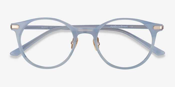 Buho Light blue Acetate Eyeglass Frames from EyeBuyDirect, Closed View