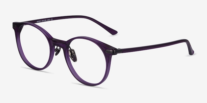 Buho Purple Acetate Eyeglass Frames from EyeBuyDirect, Angle View