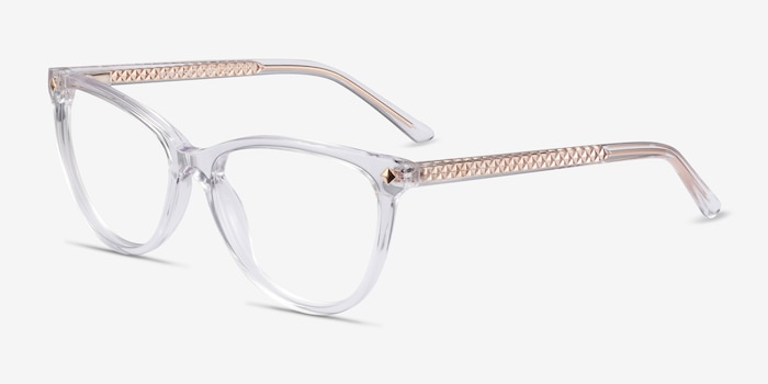 Leonie Clear Acetate Eyeglass Frames from EyeBuyDirect, Angle View