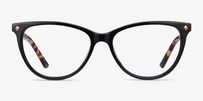 Leonie Black Tortoise Acetate Eyeglass Frames from EyeBuyDirect, Front View