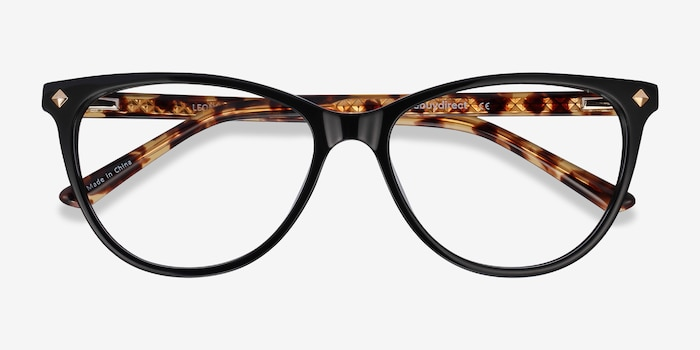 Leonie Black Tortoise Acetate Eyeglass Frames from EyeBuyDirect, Closed View