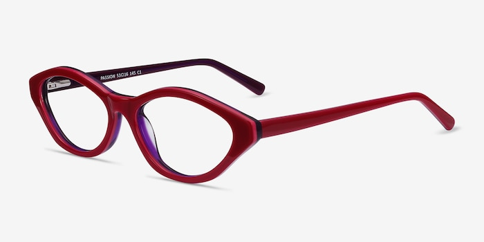 Passion Raspberry & Purple Acetate Eyeglass Frames from EyeBuyDirect, Angle View