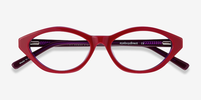 Passion Raspberry & Purple Acetate Eyeglass Frames from EyeBuyDirect, Closed View