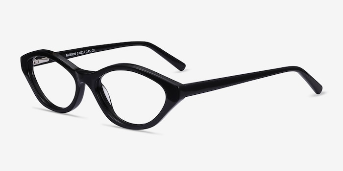 Passion Black Acetate Eyeglass Frames from EyeBuyDirect, Angle View