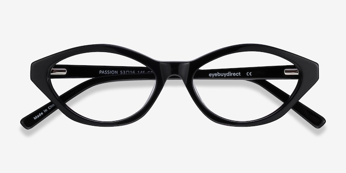 Passion Black Acetate Eyeglass Frames from EyeBuyDirect, Closed View