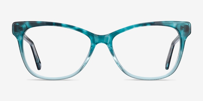 Rosalie Blue Acetate Eyeglass Frames from EyeBuyDirect, Front View
