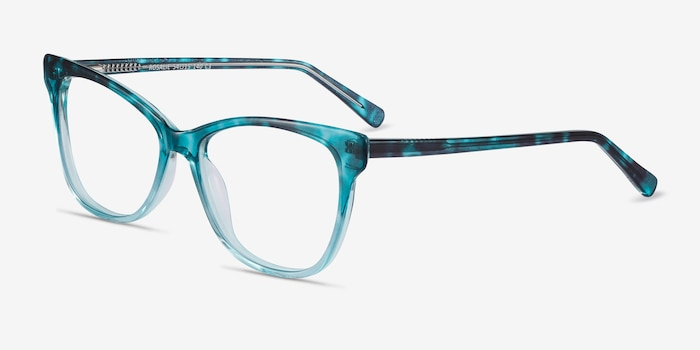 Rosalie Blue Acetate Eyeglass Frames from EyeBuyDirect, Angle View