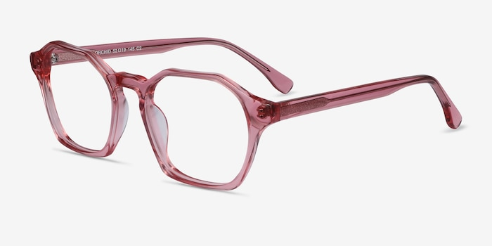 Orchid Clear Pink Acetate Eyeglass Frames from EyeBuyDirect, Angle View