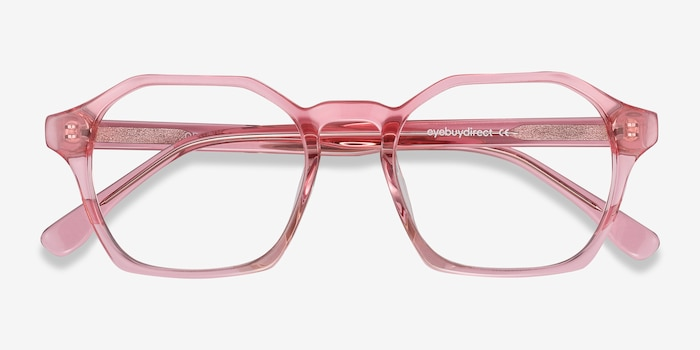 Orchid Clear Pink Acetate Eyeglass Frames from EyeBuyDirect, Closed View