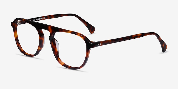 Ida Tortoise Acetate Eyeglass Frames from EyeBuyDirect, Angle View