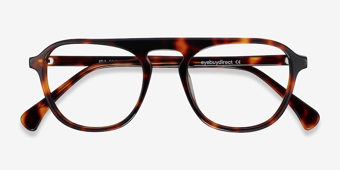 Ida Tortoise Acetate Eyeglass Frames from EyeBuyDirect, Closed View
