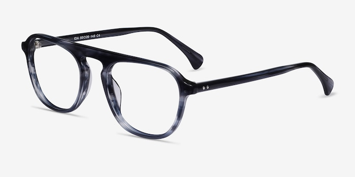Ida Gray Striped Acetate Eyeglass Frames from EyeBuyDirect, Angle View