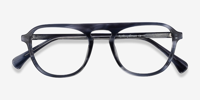 Ida Gray Striped Acetate Eyeglass Frames from EyeBuyDirect, Closed View