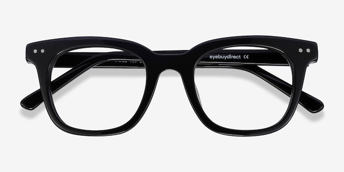 Romy Black Acetate Eyeglass Frames from EyeBuyDirect, Closed View