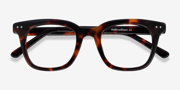 Romy Tortoise Acetate Eyeglass Frames from EyeBuyDirect, Closed View