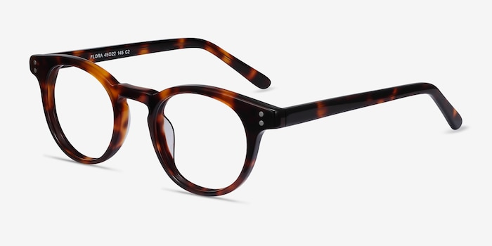 Flora Tortoise Acetate Eyeglass Frames from EyeBuyDirect, Angle View