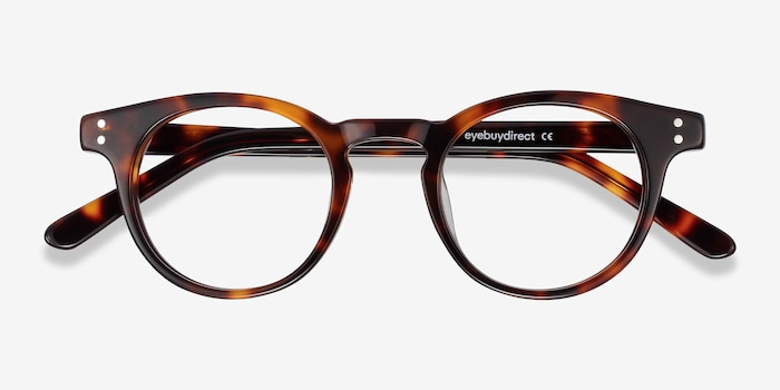 Flora Tortoise Acetate Eyeglass Frames from EyeBuyDirect, Closed View