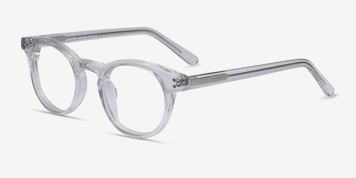 Flora Clear Acetate Eyeglass Frames from EyeBuyDirect, Angle View
