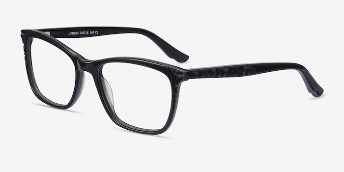 Hedera Black Acetate Eyeglass Frames from EyeBuyDirect, Angle View