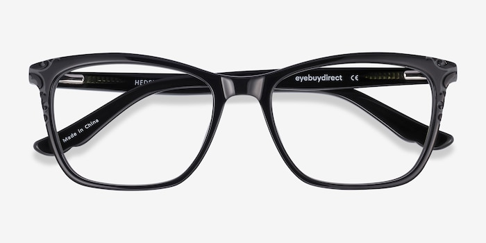 Hedera Black Acetate Eyeglass Frames from EyeBuyDirect, Closed View