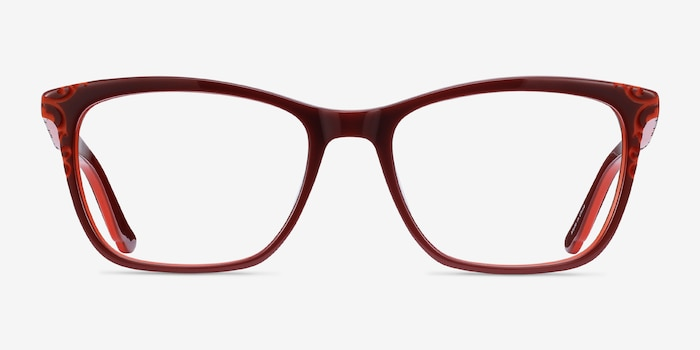 Hedera Burgundy Orange Acetate Eyeglass Frames from EyeBuyDirect, Front View