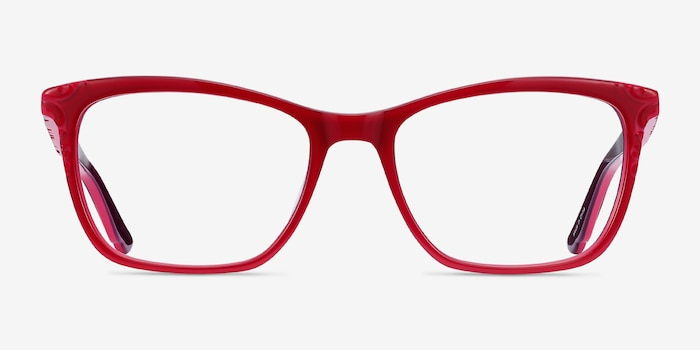Hedera Raspberry Pink Acetate Eyeglass Frames from EyeBuyDirect, Front View