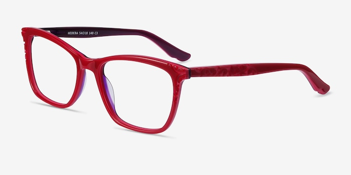 Hedera Raspberry Pink Acetate Eyeglass Frames from EyeBuyDirect, Angle View