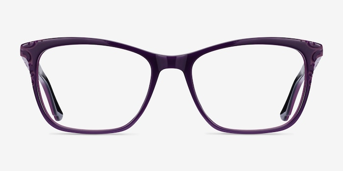 Hedera Purple Acetate Eyeglass Frames from EyeBuyDirect, Front View