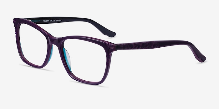 Hedera Purple Acetate Eyeglass Frames from EyeBuyDirect, Angle View