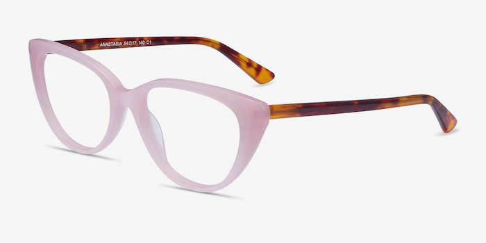 Anastasia Iridescent Pink & Tortoise Acetate Eyeglass Frames from EyeBuyDirect, Angle View
