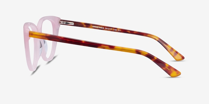 Anastasia Iridescent Pink & Tortoise Acetate Eyeglass Frames from EyeBuyDirect, Side View