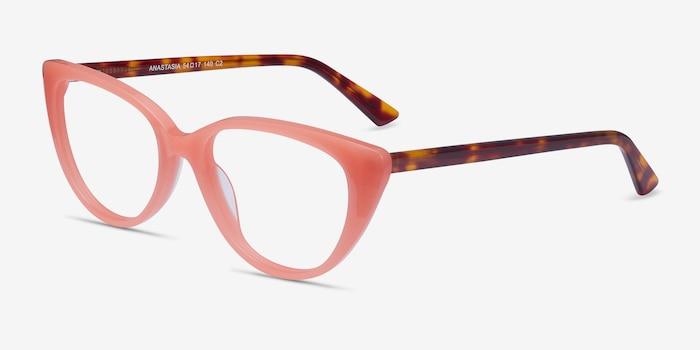 Anastasia Coral & Tortoise Acetate Eyeglass Frames from EyeBuyDirect, Angle View