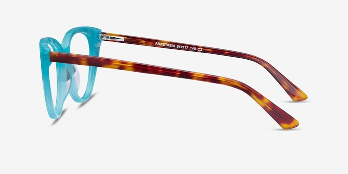 Anastasia Turquoise & Tortoise Acetate Eyeglass Frames from EyeBuyDirect, Side View