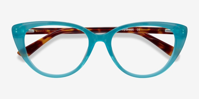 Anastasia Turquoise & Tortoise Acetate Eyeglass Frames from EyeBuyDirect, Closed View