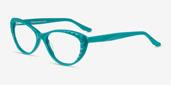 Persona Teal Acetate Eyeglass Frames from EyeBuyDirect, Angle View