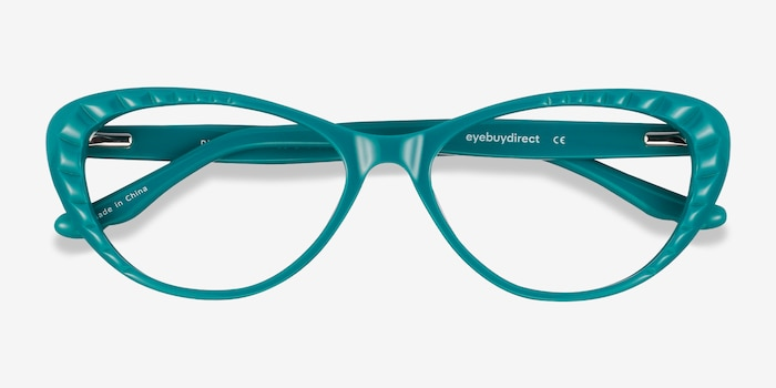 Persona Teal Acetate Eyeglass Frames from EyeBuyDirect, Closed View