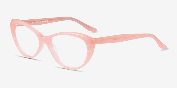 Persona Coral Acetate Eyeglass Frames from EyeBuyDirect, Angle View
