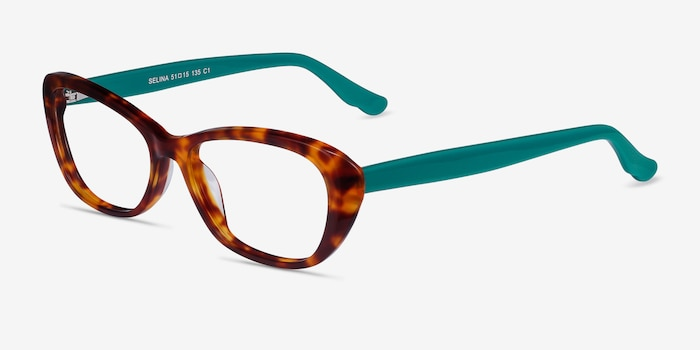 Selina Tortoise & Teal Acetate Eyeglass Frames from EyeBuyDirect, Angle View