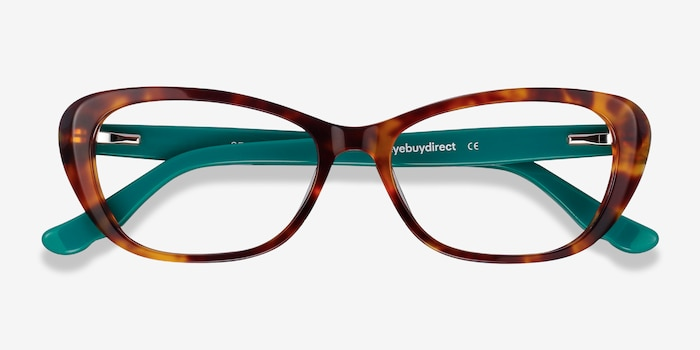 Selina Tortoise & Teal Acetate Eyeglass Frames from EyeBuyDirect, Closed View