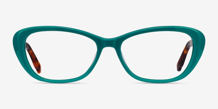 Selina Teal & Tortoise Acetate Eyeglass Frames from EyeBuyDirect, Front View