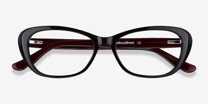 Selina Black & Burgundy Acetate Eyeglass Frames from EyeBuyDirect, Closed View