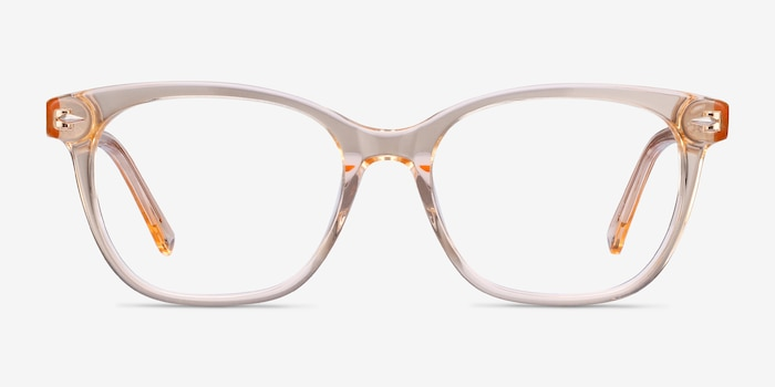 Yana Clear Melon Acetate Eyeglass Frames from EyeBuyDirect, Front View