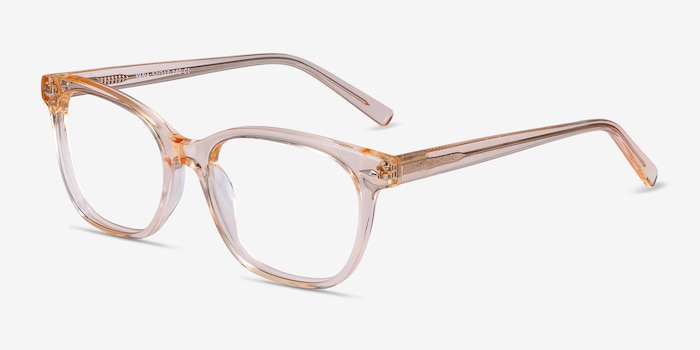 Yana Clear Melon Acetate Eyeglass Frames from EyeBuyDirect, Angle View