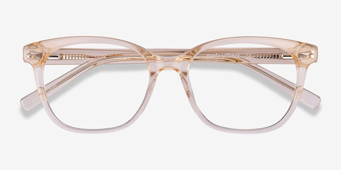 Yana Clear Melon Acetate Eyeglass Frames from EyeBuyDirect, Closed View