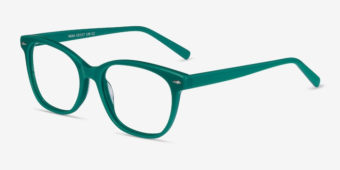 Yana Teal Acetate Eyeglass Frames from EyeBuyDirect, Angle View
