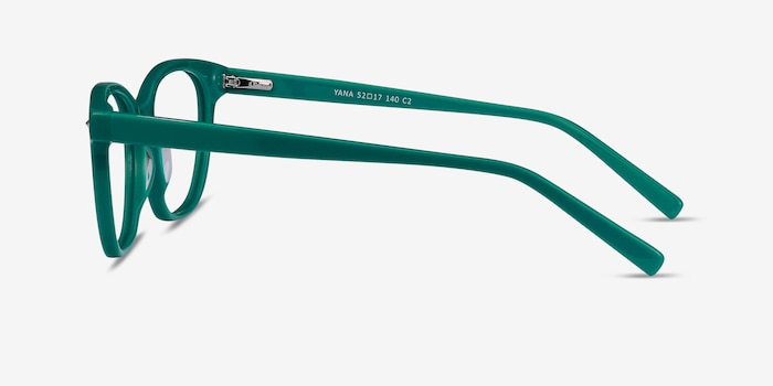 Yana Teal Acetate Eyeglass Frames from EyeBuyDirect, Side View