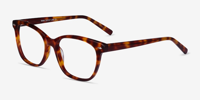 Yana Tortoise Acetate Eyeglass Frames from EyeBuyDirect, Angle View