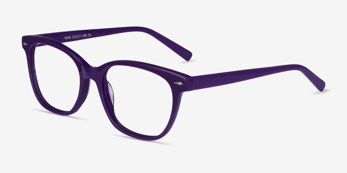 Yana Purple Acetate Eyeglass Frames from EyeBuyDirect, Angle View