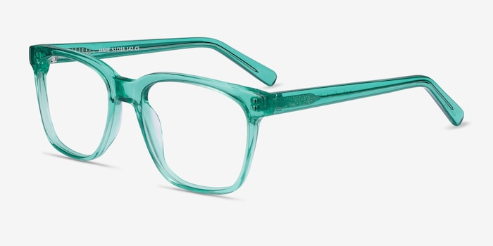 Jamie Emerald Green Acetate Eyeglass Frames from EyeBuyDirect, Angle View